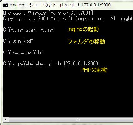 nginxの起動とphpの起動コマンド